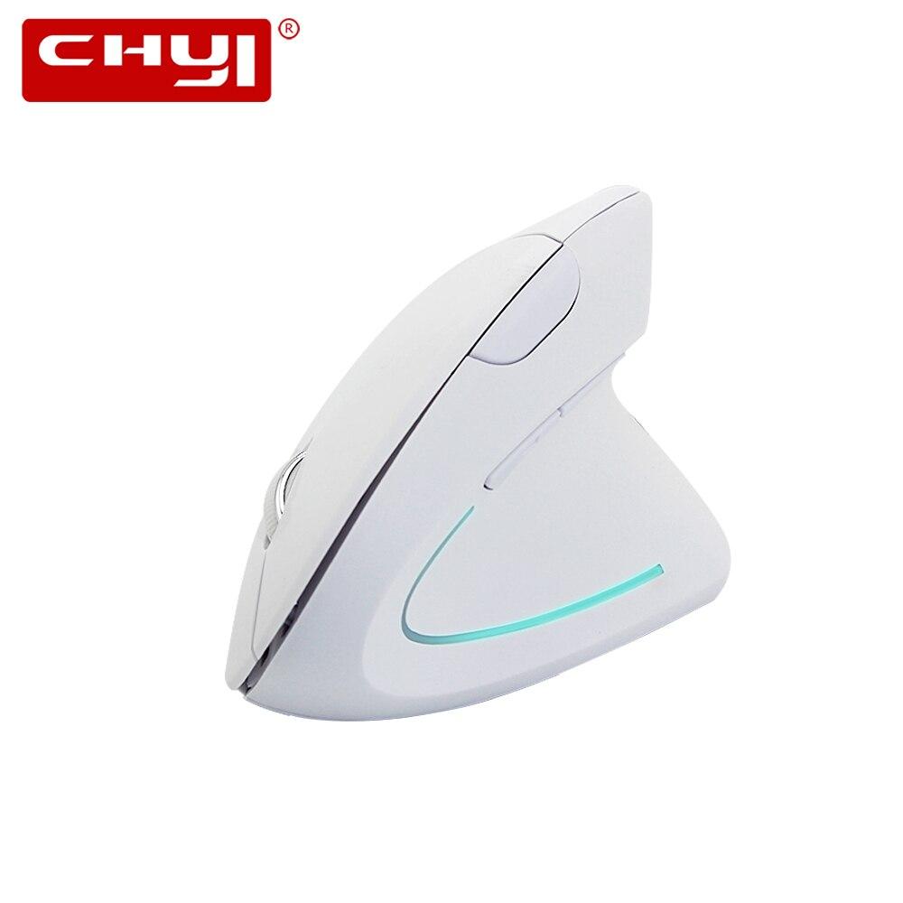 CHYI 5th White Ergonomic Wireless Vertical Mouse 2.4Ghz 800-1200-1600 DPI Raton Inalambrico Optical Mice For PC Laptop Desktop