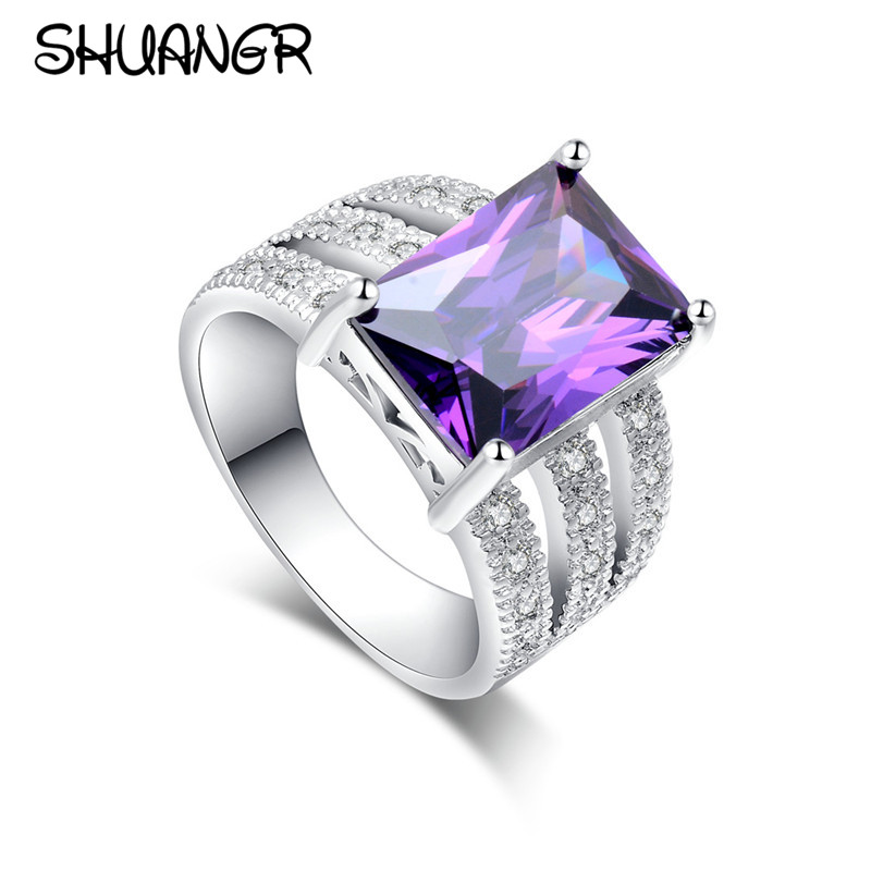 SHUANGR 1pc Silver Color Dazzling Charming 100% Cubic Zirconia CZ Party Royal Wedding Finger Ring for Lady Gift TG091/A558/A566