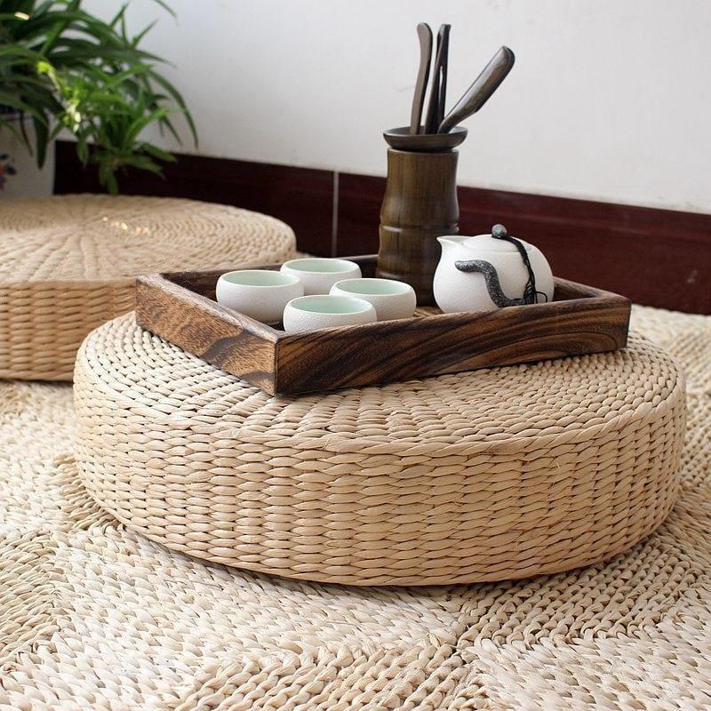 40cm Tatami Cushion Round Straw Weave Handmade Pillow Floor Yoga Chair Seat Mat Height 6 10 20 30cm