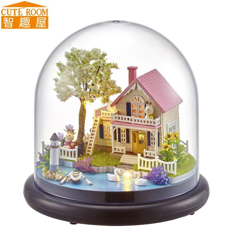 Cutebee DIY House Miniature With Furniture LED Music Dust Cover Model Building Blocks Toys For Children Casa De Boneca B21