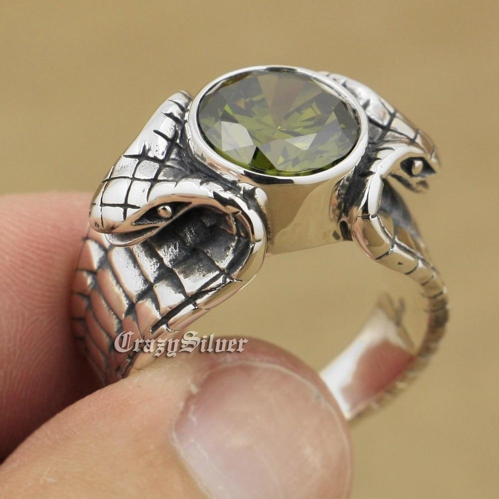 LINSION 925 Sterling Silver King Cobra Snake Ring Green Cubic Zirconia Stone Biker Punk Style 9K030 US Size 8~14 стоимость