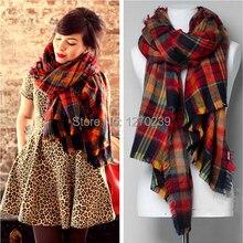 WJ09 2014 Street Snap Plaid Blanket Scarf Women Shawls Imitation Cashmere Star Style Cape Scarves Tartan