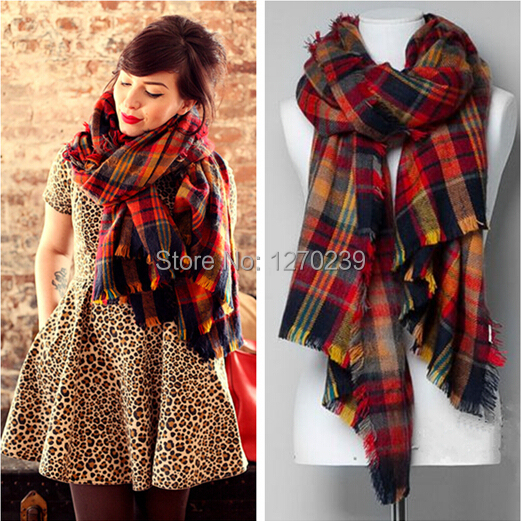 WJ09 2014 Street Snap Plaid Blanket Scarf Women Shawls Imitation Cashmere Star Style Cape Scarves font