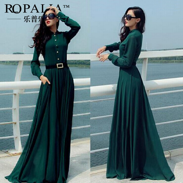2017 New Dark Green Color Clic Long Sleeve Show Thin Slim Shirt Chiffon Dresses Expansion Dress Evening Formal Gowns In From