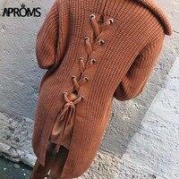 Aproms 2017 Winter Dệt Kim Áo Trùm Đầu Thời Trang Lại Lace Up Phụ Nữ Cơ Bản Dệt Kim Cardigan Jackets Outwear Knit Coat
