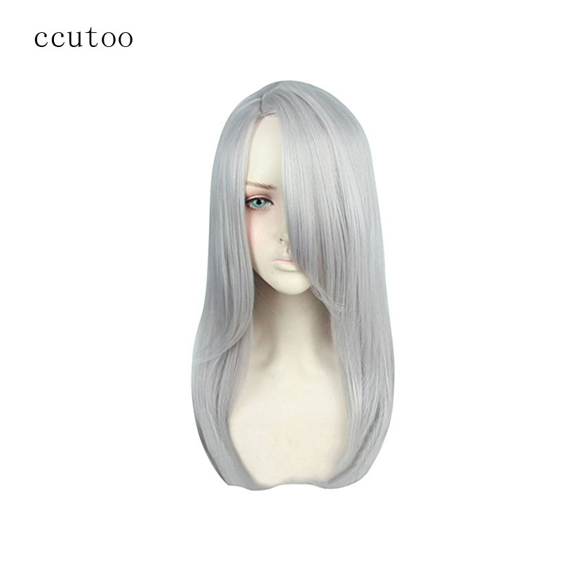 Ccutoo YURI!!! On ICE Young Victor Nikiforov Silver Grey Long Synthetic Wig For Female's Cosplay Costume Wigs
