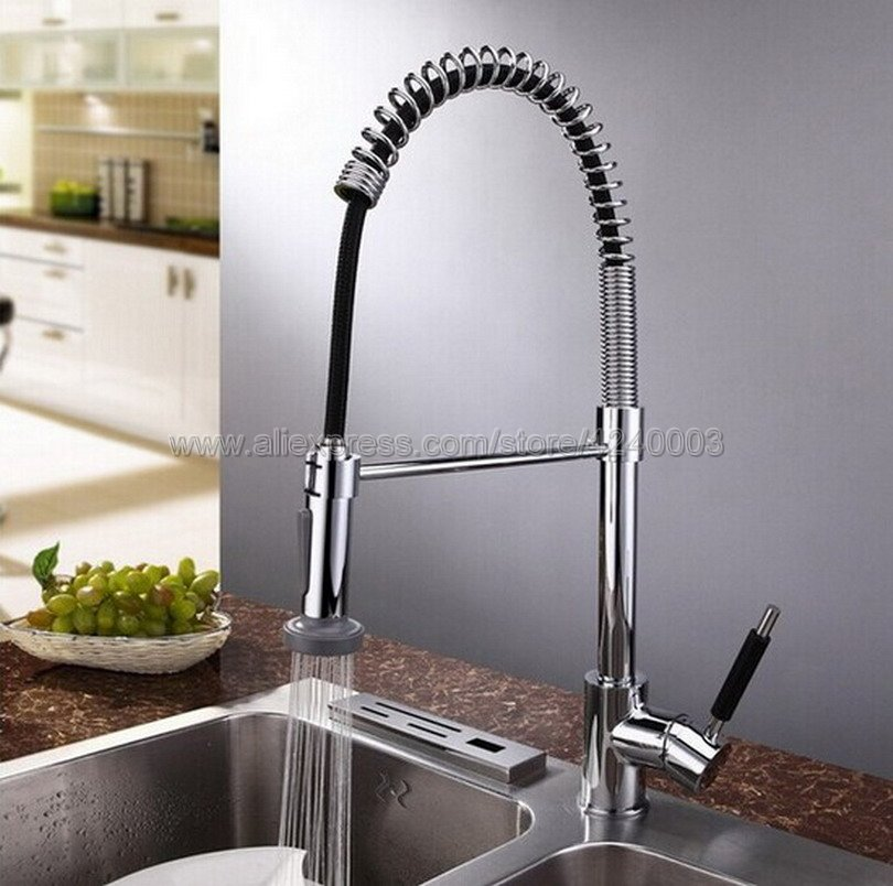 Kitchen Faucets Silver Single Handle Pull Down Kitchen Tap Single Hole Handle Swivel 360 Degree Water Mixer Tap Mixer Tap Ksf077Kitchen Faucets Silver Single Handle Pull Down Kitchen Tap Single Hole Handle Swivel 360 Degree Water Mixer Tap Mixer Tap Ksf077