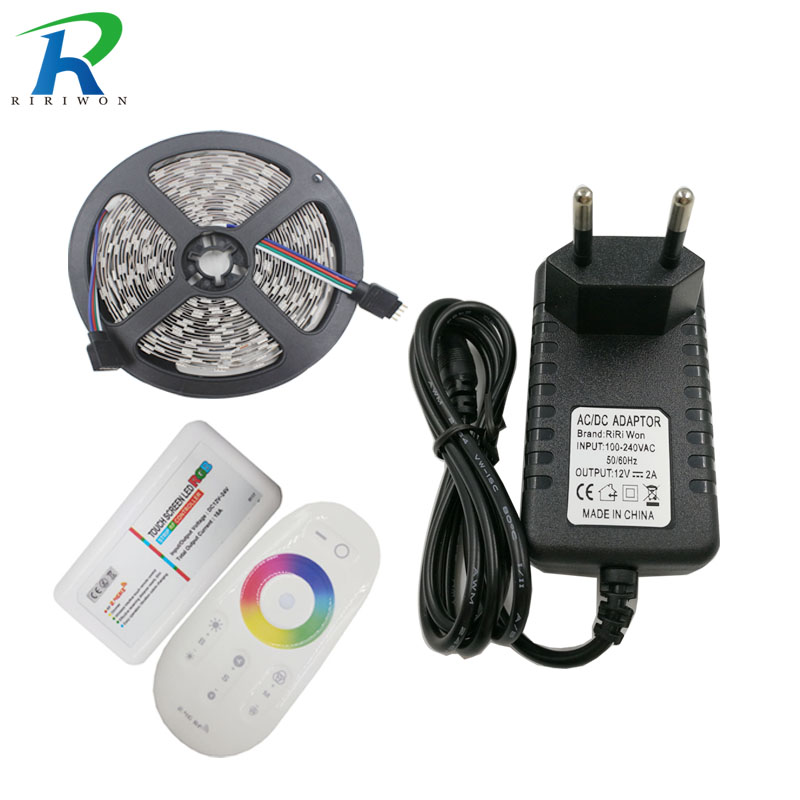 RiRi won 5M 3825 RGB LED Strip Light SMD Flexible no waterproof led Tape diode Lights RF milight Controller 12V 2A Power Supply