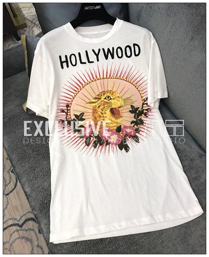 Новое поступление Летняя одежда Для женщин модная леопардовая Футболка с принтом с круглым вырезом Вышивка хлопковая Футболка Повседневно
