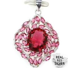 Guaranteed Real 925 Solid Sterling Silver 3.4g Deluxe Pink Raspberry Rhodolite Garnet CZ Pendant 34x23mm