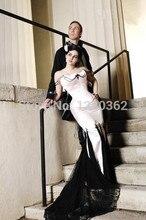 Cheap Black And White Gothic Mermaid Wedding Dress Beaded Satin Floor-Length Lace Corset Court Train 2016