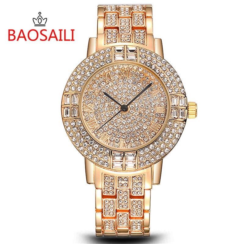 BAOSAILI Gold Women Watch Fashion Lady Dress Quartz Watch Women Rhinestone Casual Wristwatch Crystal Reloje Mujer