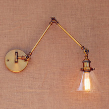 Brass Antique Loft Vintage Wall Light Glass Swing Long Arm Wall Lights Fixtures Industrial Retro Wall Lamp Edison Appliques LED loft industiral retro wall lamp glass flower cover iron wall light hotel bar indoor two wooden wall mounted swing arm lights