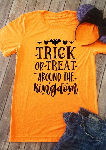 29b75af95 Hipster Summer Yellow Clothes Tee Halloween Trick or Treat Around The  Kingdom T-Shirt Funny Letter Graphic feminist gift Tops