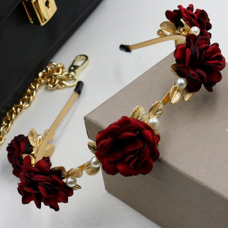 2016 Runway Baroque Red Rose Flower Hair Band Wide Headband Pearl Hair Accessories Wedding Tiara Menina Queen Gold Leaf Crown