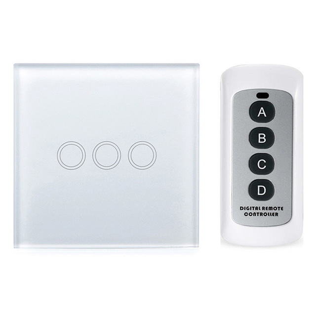 Smart Home EU Touch Switch Wireless Remote Control Wall Touch Switch 3 Gang 1 Way White Crystal Glass Panel Waterproof power wall light touch switch 2 gang 2 way wireless remote control power light touch switch white and black crystal glass panel switch