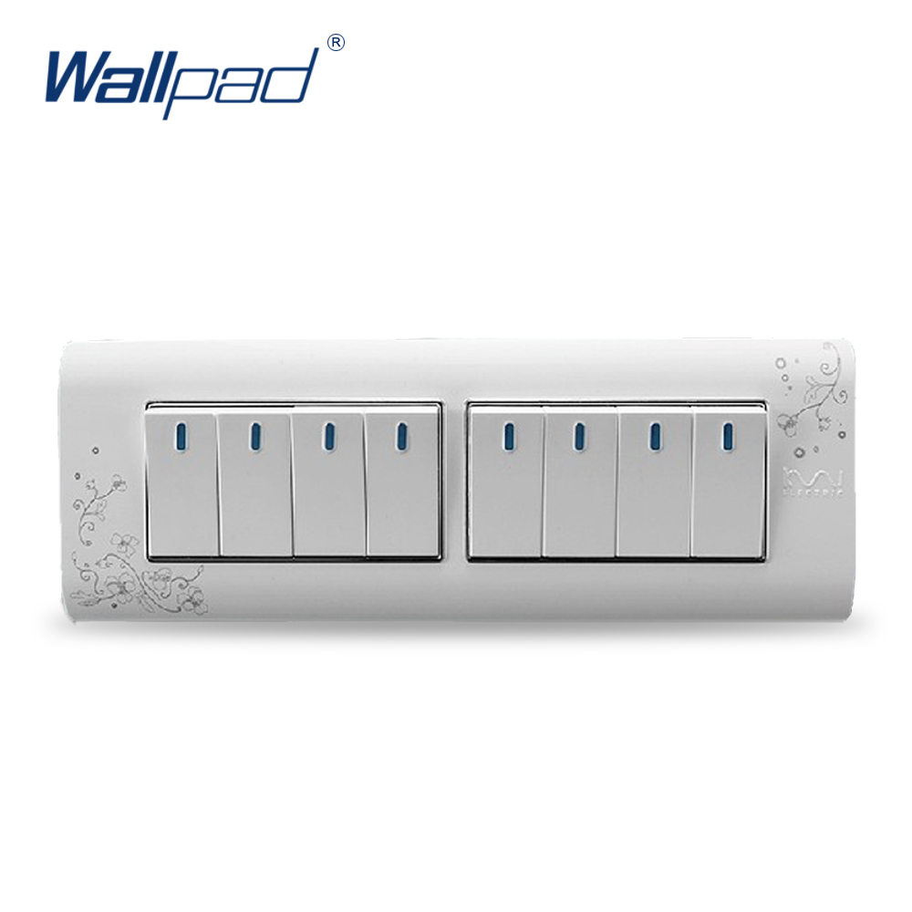 цена на 8 Gang 2 Way 2018 Hot Sale Wallpad Luxury Wall Switch Panel Light Switch Push Button Switch C30-118 110~250V