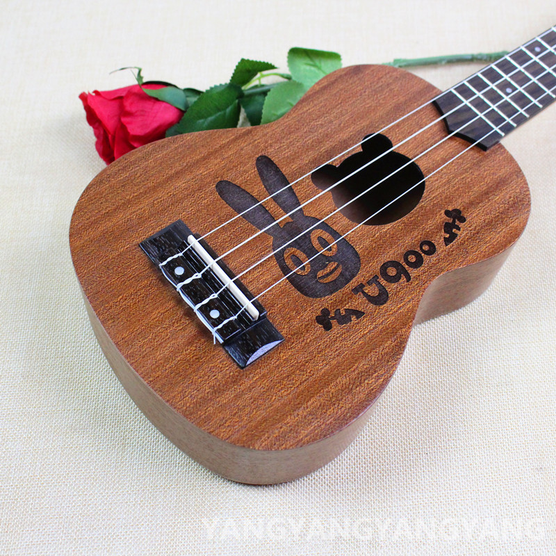 Soprano Concert Tenor Ukulele 21 23 26Inch Hawaiian Guitar 4 Strings Ukelele Guitarra Handcraft Wood Rebbit Cartoon Sapele