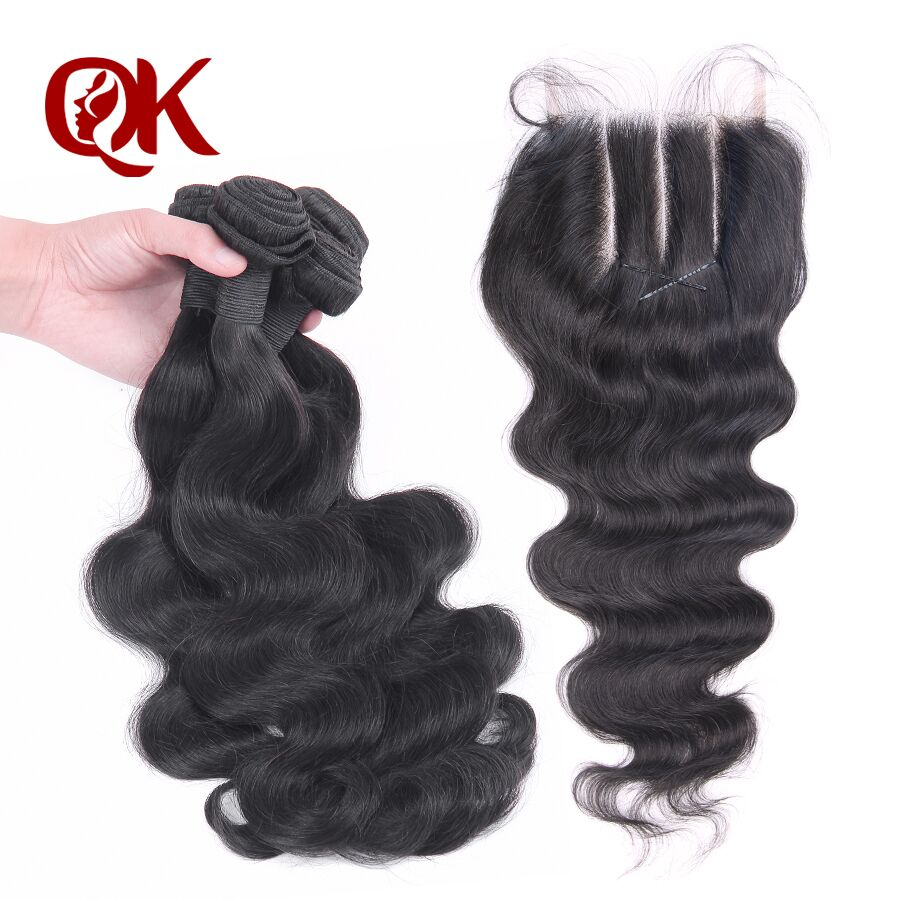 QueenKing Hair Peruvian Body Wave With Lace Closure Remy Hair Weaves Natural Color 3 Bundles Human