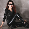 New Arrival Autumn And Winter Korean Fashion High Waist Pants Trousers PU Leather With Elastic Thin Leggings  Black One Size J7