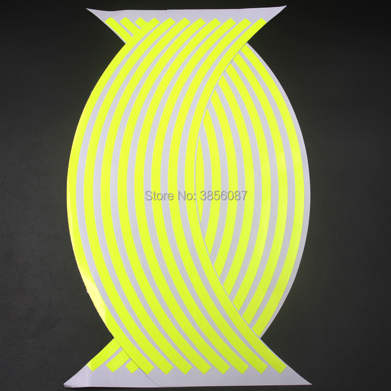 FASP 17/18 Inch Motorcycle Fluorescent Yellow Wheel Hub Stickers Auto Decors Wheel Stickers On Car 16 Strips Waterproof Decal