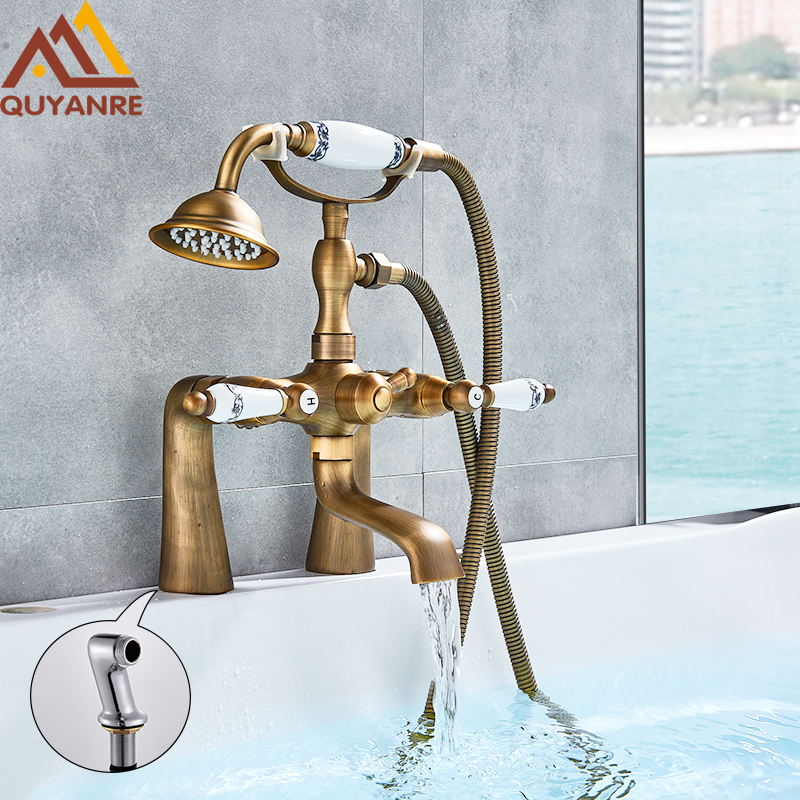 Quyanre Antique Brass Bathtub Shower Faucet Porcelain Deco Dual Handles Mixer Tap Deck Mount With Angle