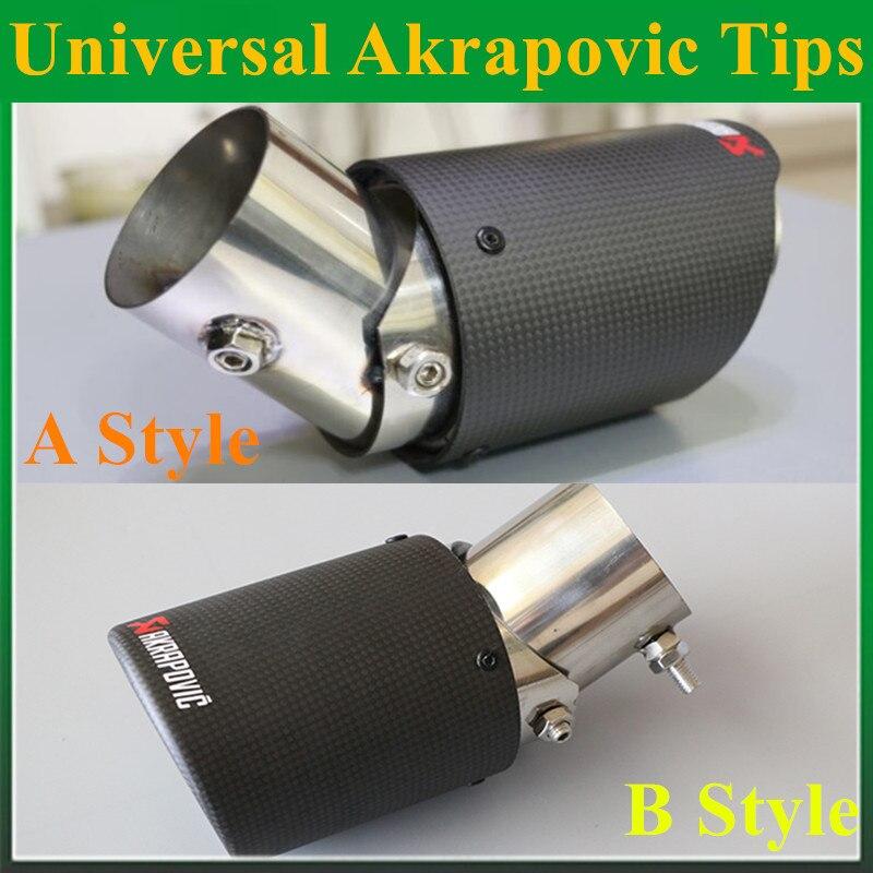 1PC universel Akrapovic embouts en Fiber de carbone tuyau d'échappement modifié pour Ford Toyota Renault Opel Automobiles accessoires de style de voiture