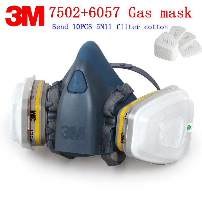 3M 7502+6057 respirator gas mask Genuine security 3M protective mask Chlorine gas hydrochloric acid chemical gas mask 7502 of reusable respirator mask gas mask portable respirator protective fire masks