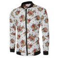 2016 Fashion Brand Mens New Casual Flower  Jacket Print Floral White Bomber Jacket Zipper Coat Men stand Coat Size M-XXL