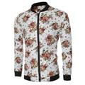 2016 Fashion Brand Mens New Casual Flower  Jacket Print Floral White Bomber Jacket Zipper Coat Men stand Coat Size M-XXL