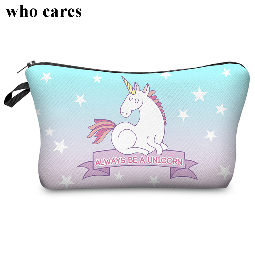 Unicorn 3D Printing Fashion Makeup Bag Maleta de Maquiagem Cosmetic Bag Necessaire Bags Organizer Party Neceser Maquillaje skull monster 3d printing makeup bag 2018 maleta de maquiagem cosmetic bag necessaire bags organizer party neceser maquillaje