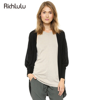 Richlulu Women Autumn Sweater Solid Black Simple Drape Two Pocket Cardigan Sweater Casual Thin Knitted Open Stitch Sweater