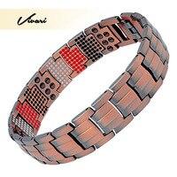 Vivari Double Row Men's Healing Magnetic Male Bracelet 4 In 1 Health Elements 100% Pure Copper Germanium Benefit for Arthritis