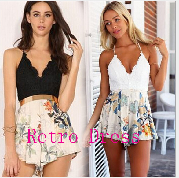 2016 summer floral print lace patchwork women jumpsuit romper Strap playsuit V neck backless sexy overalls