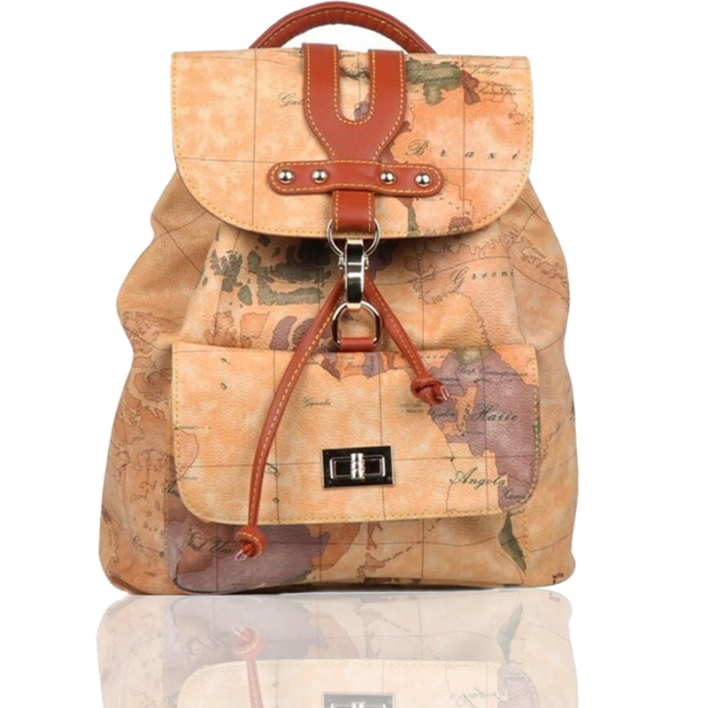 2017 New Style Waterproof Backpack World Map Women Men Fashion PVC Schoolbag Casual Free Shipping High Quality V402  цена и фото