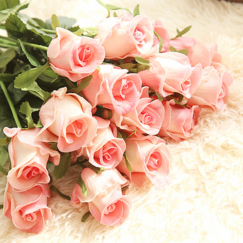 Floace 15pcs/lot Home Wedding Decoration Flowers Real Touch Quality Artificial Flowers Roses