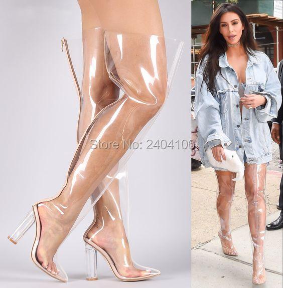 2018 Kim Kardashian PVC Rain Botas Black Nude Clear Thigh High Boots Perspex Crystal Chunky Heel Over Knee Transparent Booties