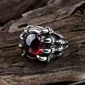 WAWFROK Fashion Stainless Steel Ring Men Skull Rings for Women Silvery Ring Man's Popular Punk Red Stone Jewelry Claw Finger