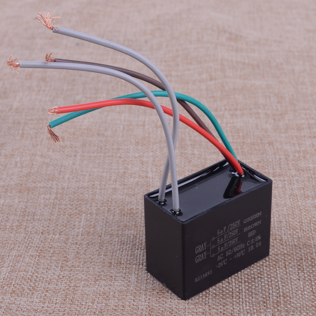 1pc Black Cbb61 Capacitor 25uf 35uf 4uf Capacity 5 Wires Type Fan Control Wiring Letaosk Plastic Ul Ceiling 5uf Wire 250v