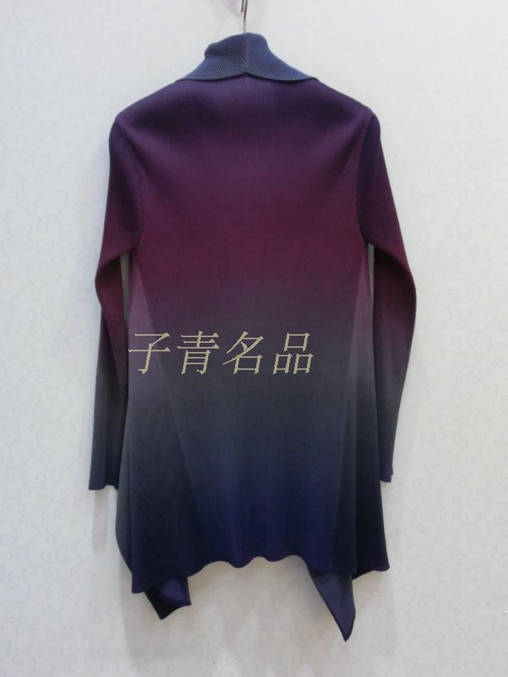 4ee82dcc FREE SHIPPING Miyake fold vitality iridescence tie-dye gradient  long-sleeved cardigan coat IN STOCK