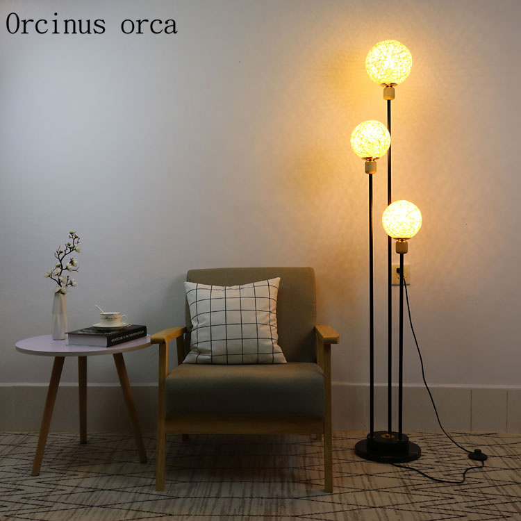 Modern simple glass ball floor lamp living room bedside lamp creative personality fashionable long LED floor lamp free shipping Floor Lamps     - title=