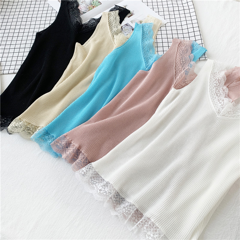 Summer Women Knitting Solid Camis   Tops   Sleeveless Tee shirts Girls Solid Knit Patchwork Lace   Tank     Tops   For Female JJD208