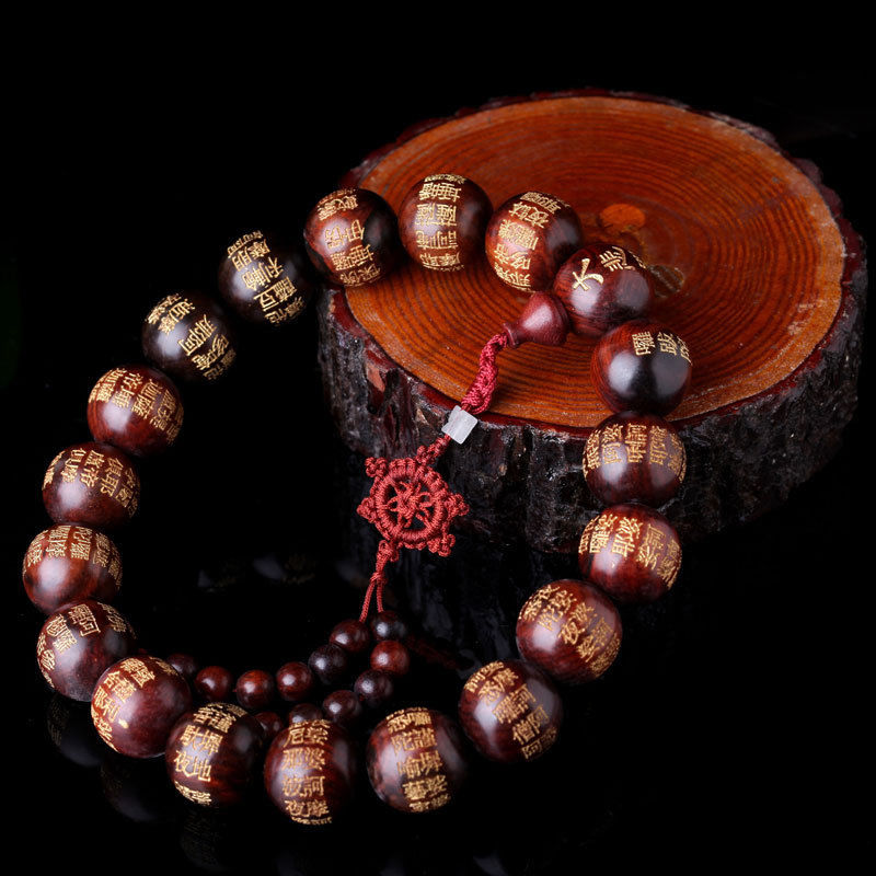 Red Sandalwood Tibetan Buddhism Scripture 18+1 Prayer Beads MALA (Car Adornment)