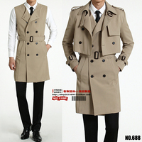 S 6XL!!! 2018 Male two piece trench coat The new long vest small coat big yards fashion leisure men's clothing