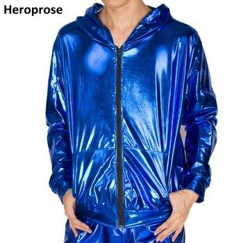 2017 Spring Autumn Men Blue bomber Jacket Stage Performance Wear paillette male casaco Hip Hop dance coat 1