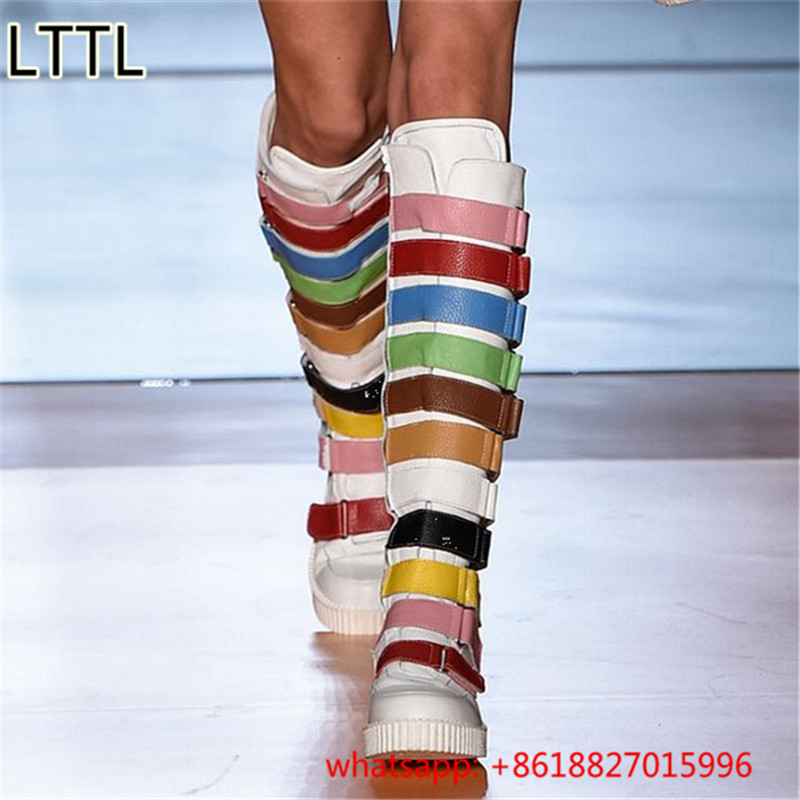 Fashion Design Runway Multicolors Knee High Boots Buckle Strap Leather Motorcycle Boots Striped Colors Stitching Shoes Women