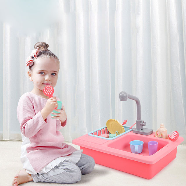 Children's Simulation Kitchen Small Pool Ability To Train Boys And Girls Puzzle Sink Dishwashing Set Play House Toys
