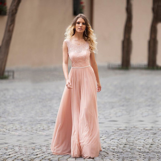 On 2016 Sheer Lace Wedding Guest Dress Sleeveless Chiffon Long Pink Weddibng Party Gown Women