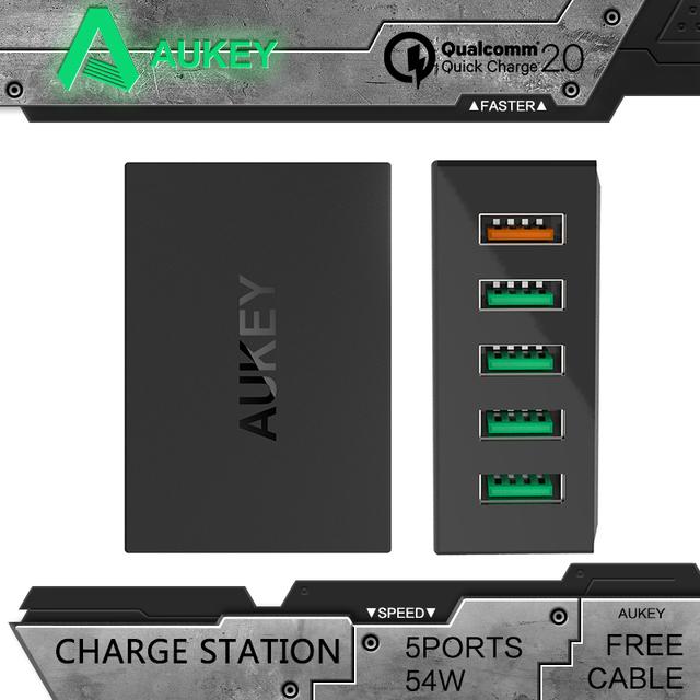 Aukey cargador rápido 2.0 5 puertos usb de viaje cargador de pared qc2.0 estación de carga rápida cargador para htc y más móvil teléfono