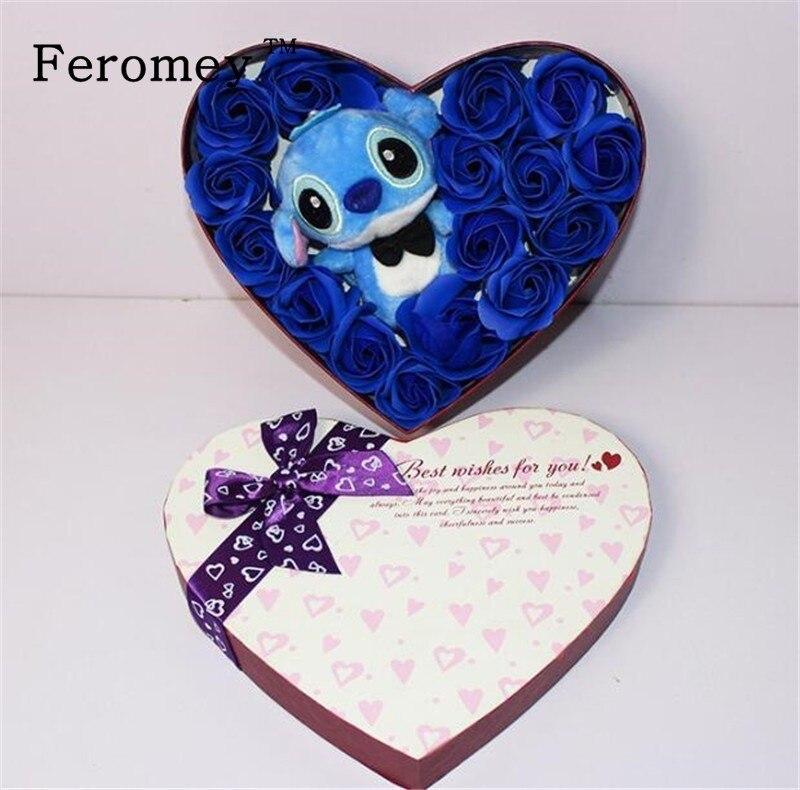 Kawaii peluche Lilo point jouets en peluche avec Bouquets Stich Rose savon fleur Bouquet saint valentin cadeau d'anniversaire